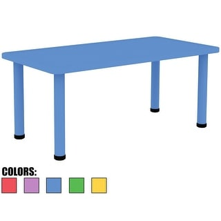 """2xhome - Blue - Kids Table - Height Adjustable 21.5"""" - 22.5"""" Rectangle Child Plastic Activity Table Bright Colorful 24"""" x 48"""""""