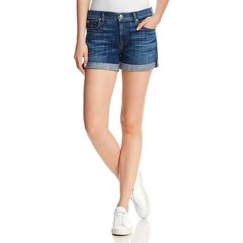 7 For All Mankind Womens Midroll Denim Shorts Cuffed Mid-Rise
