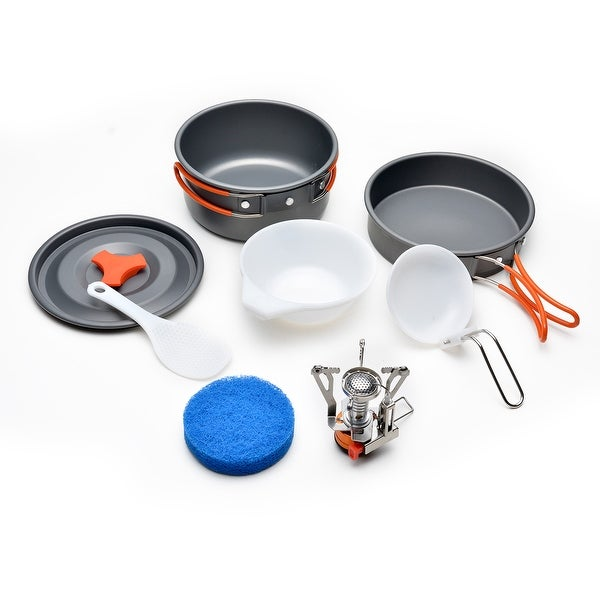 ODOLAND Camping Cookware Kit w/ Mini Camping Stove Best 1-2 Person Pot Pan Kit