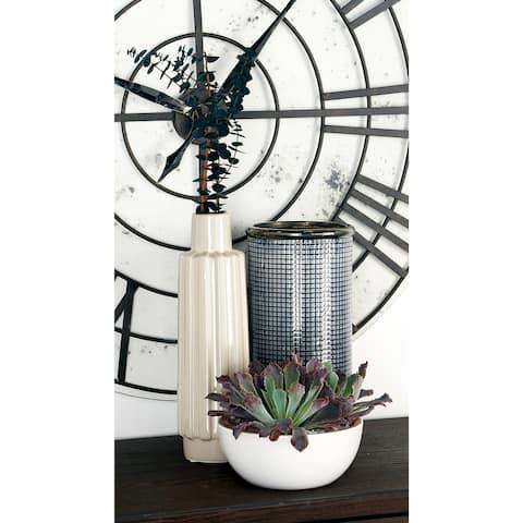 Carson Carrington Andalsnes 12-inch Contemporary Ceramic Cylindrical Mesh Design Vase