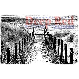 "Deep Red Cling Stamp 3""X2""-Beach Walk"