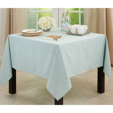 Cotton Blend Tablecloth with Stitched Line Design