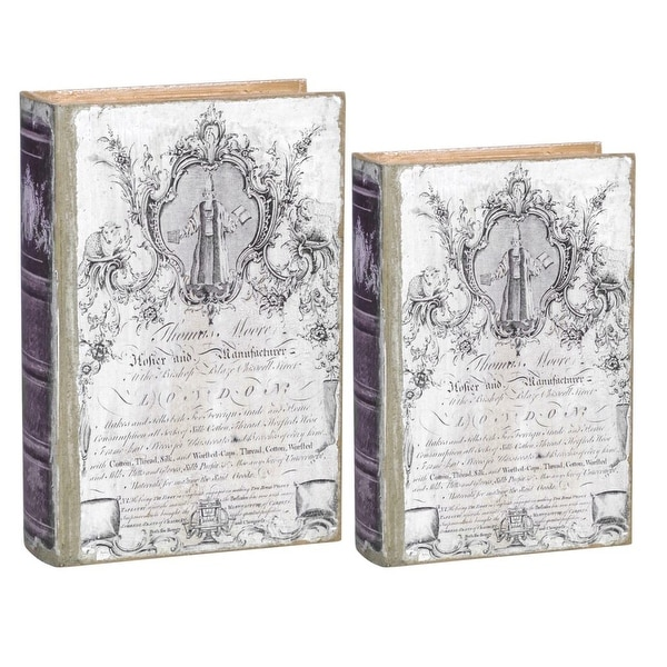 """Set of 2 White and Black Classical Style Distressed Finished Book Boxes 10.5"""" - N/A"""