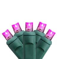 Set of 50 Commercial Grade Pink LED Wide Angle Christmas Lights - Green Wire