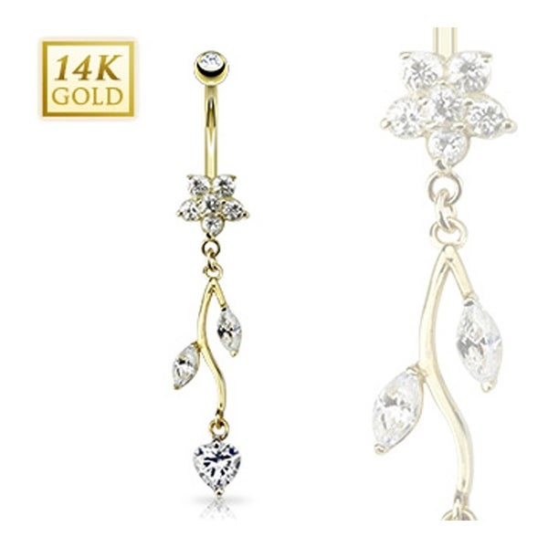 "14 Karat Solid Yellow Gold Flower CZ Vine Dangle Navel Belly Button Ring - 14GA 3/8"" Long"