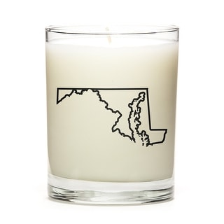 State Outline Soy Wax Candle, Maryland State, Peach Belini