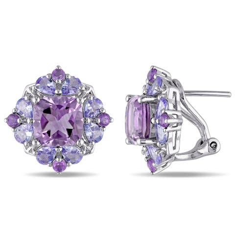 Miadora Sterling Silver Amethyst and Tanzanite Stud Earrings