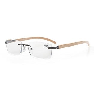 9ac80068ddba Shop Eyekepper Spring Hinges Wood Arms Rimless Eyeglasses Gunmetal+1.0 - Free  Shipping On Orders Over  45 - Overstock.com - 15947296