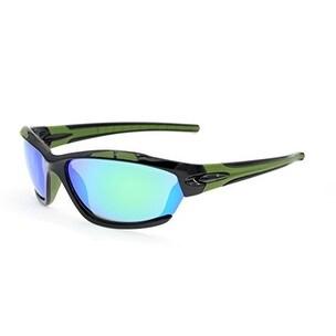 Eyekepper Polycarbonate Polarized Sport Sunglasses Running Fishing Driving TR90 Unbreakable Black Frame Green Mirror