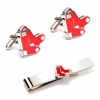 Boston Red Sox Cufflinks and Tie Bar Gift Set - Silver