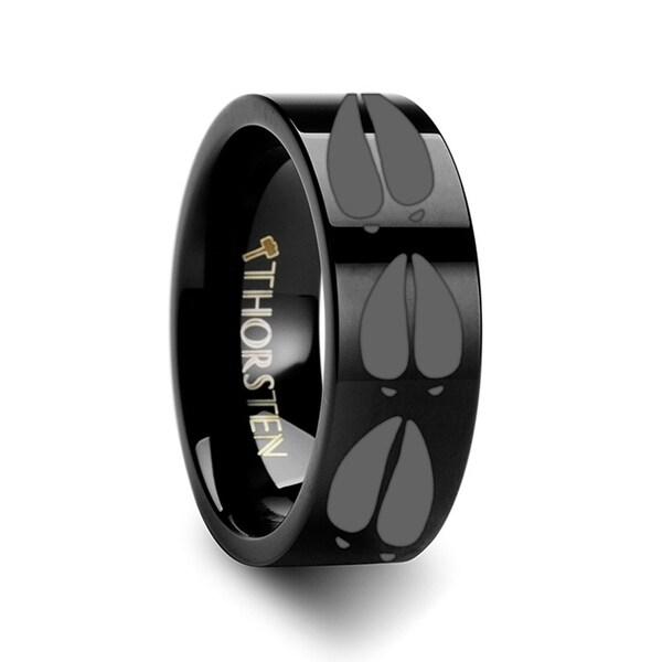 THORSTEN - Animal Deer Track Mule Print Ring Engraved Flat Black Tungsten Ring - 10mm