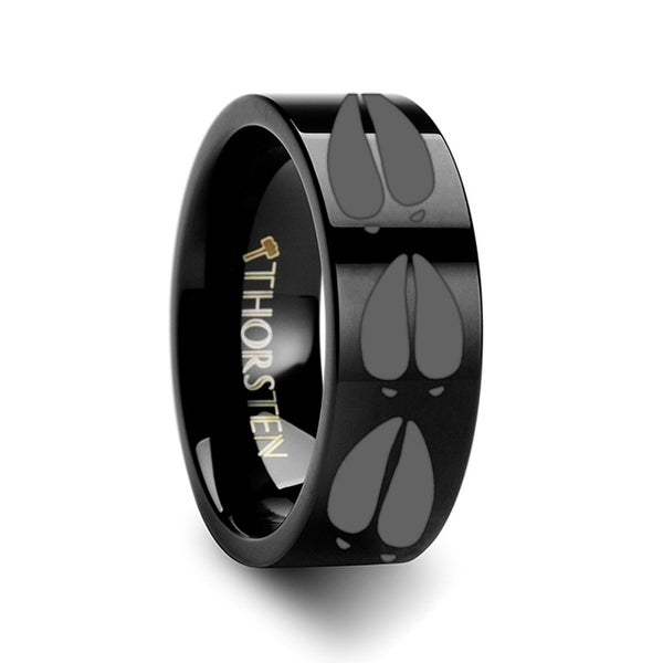 THORSTEN - Animal Deer Track Mule Print Ring Engraved Flat Black Tungsten Ring - 4mm