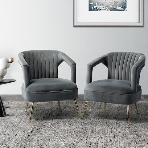 Alva Barrel Chair with Tufted Design Set of 2