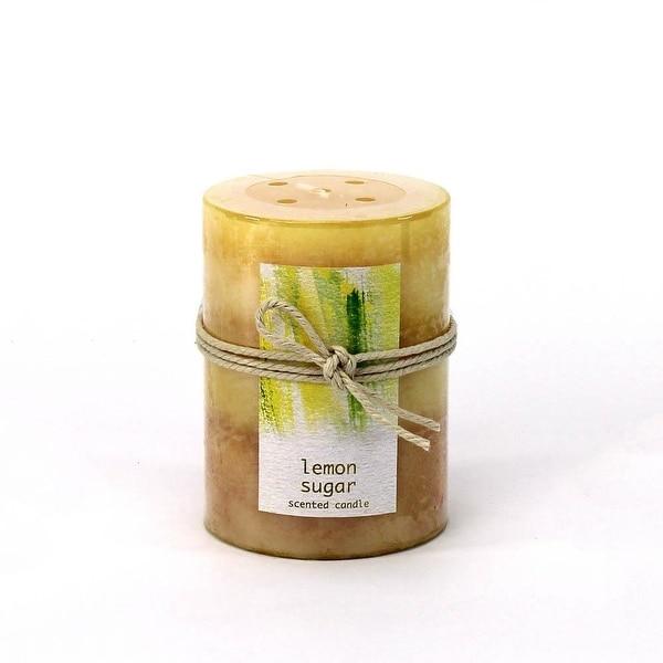 Modern Lemon Sugar Pillar Candle 3X4