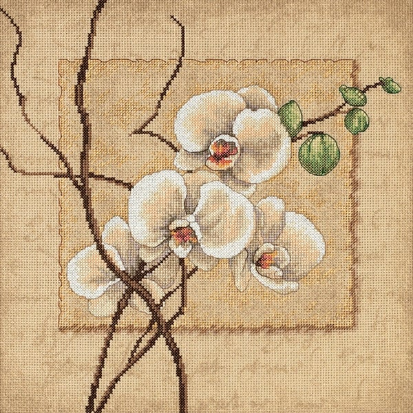 """Oriental Orchids Counted Cross Stitch Kit-12""""X12"""" 14 Count"""