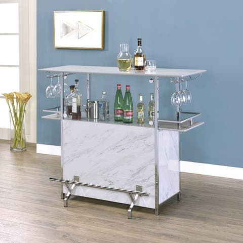 Furniture of America Iche Contemporary White Metal Bar Table
