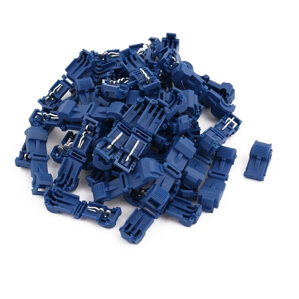 50Pcs Self-Stripping T-Tap Wire Spade Connectors Terminal Crimp Kit