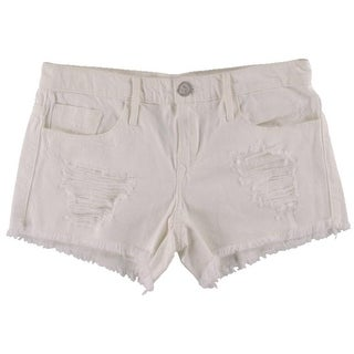 Black Orchid Womens Fringe Destroyed Denim Shorts - 24