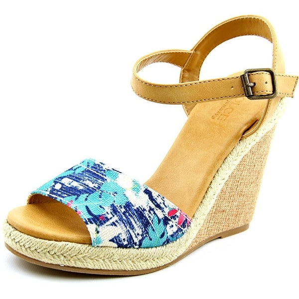 Dolce by Mojo Moxy Posey Women Open Toe Canvas Multi Color Wedge Sandal