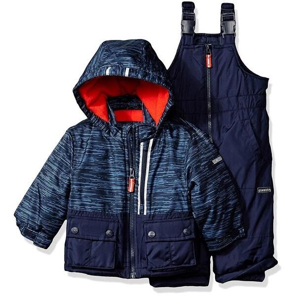 Osh Kosh Boys 12-24 Months Print Colorblock Snowsuit Set