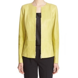 Lafayette 148 NEW Yellow Women's Size 10 Leather Zip Front Jacket