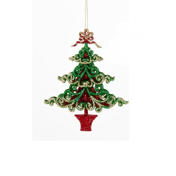 "6"" Decorative Green and Red Tree in a Pot Hanging Christmas Ornament"