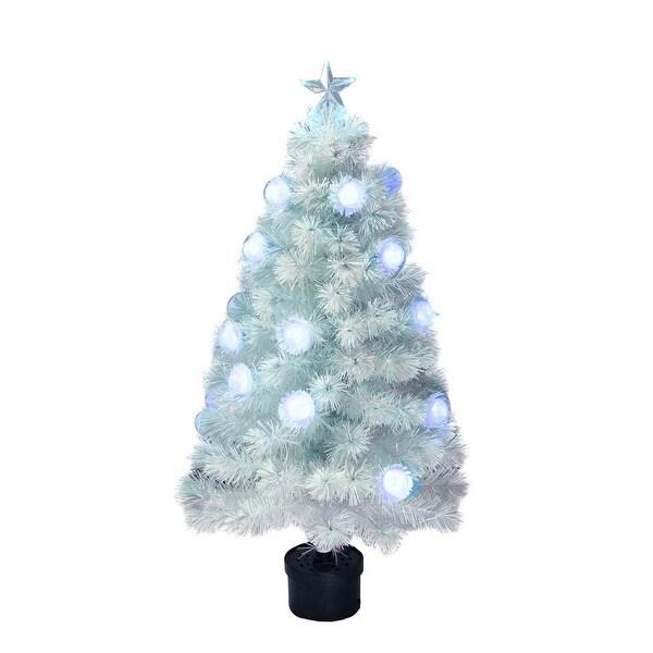 4' Pre-Lit White Iridescent Fiber Optic Artificial Christmas Tree