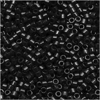 Miyuki Delica Seed Beads, 11/0 Size, 7.2 Grams, Black Opaque DB010