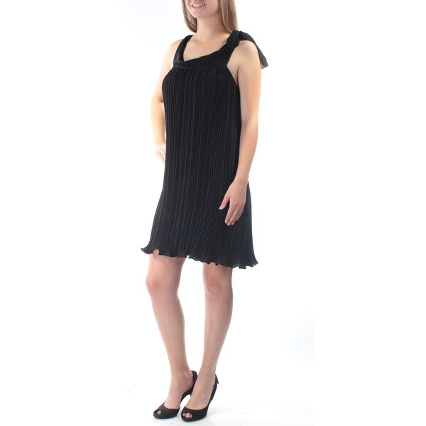 d6f73ab5b4b Shop RACHEL ROY Womens Black Pleated Sleeveless Scoop Neck Above The Knee  Shift Cocktail Dress Size  M - On Sale - Free Shipping On Orders Over  45  ...