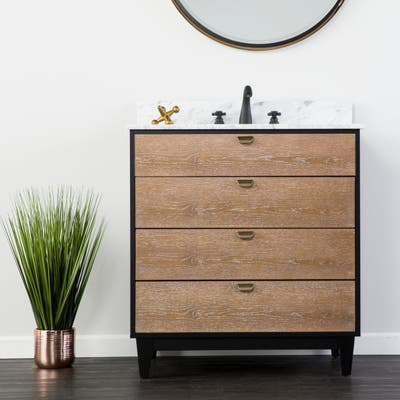 SEI Furniture Tobin Limed Burnt Oak and Marble Bath Vanity Sink