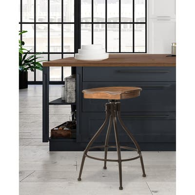 """Hillsdale Furniture Worland Backless Adjustable Height Stool - 26-30""""H x 21""""W x 21""""D"""