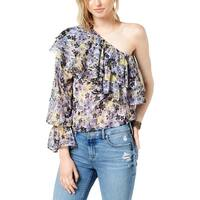 Lucky Brand Womens Blouse Floral Print One Shoulder