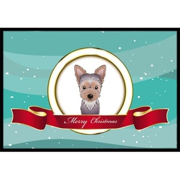 Carolines Treasures BB1542JMAT Yorkie Puppy Merry Christmas Indoor & Outdoor Mat 24 x 36 in.