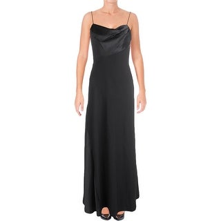 Vera Wang Womens Evening Dress Crepe Contrast Trim