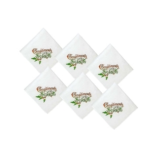 Classic Holiday Print Set of 6 Handkerchief Compliments of the Season