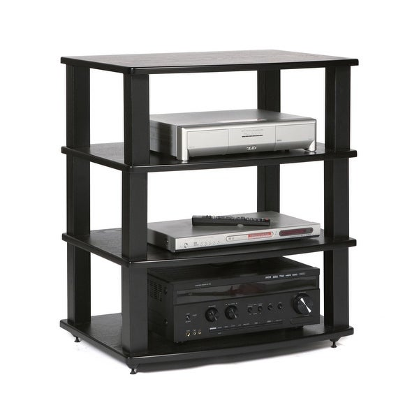 """31.5"""" Black and Silver Expandable Oak Finish Audio Stand - N/A"""
