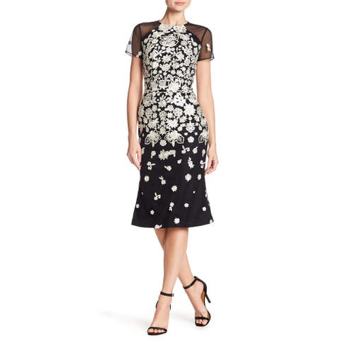 Carmen Marc Valvo Floral Embroidered Midi Dress, Black/White, 12