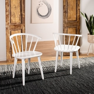 "Link to Safavieh Dining Country Blanchard White Dining Chairs (Set of 2) - 21.3"" x 20.5"" x 29.9"" Similar Items in Dining Room & Bar Furniture"