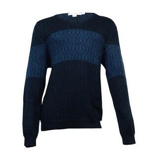 Calvin Klein Men's Geo-Print V-Neck Sweater(Prussian Blue, XXL) - prussian blue - XxL
