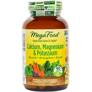 MegaFood Calcium, Magnesium, & Potassium - 90 Tablets MultiMineral Cardiovascular Health Blood Pressure Support