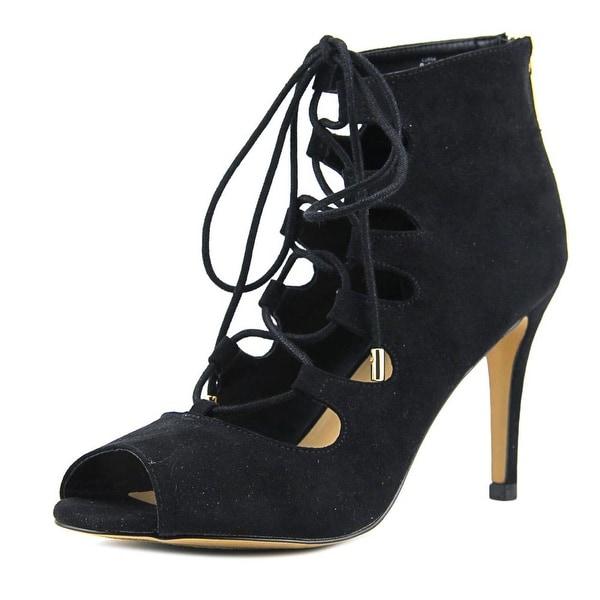 Thalia Sodi Luana Women Open Toe Suede Black Sandals