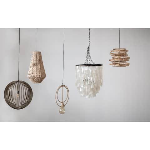 Capiz & Metal Pendant Light