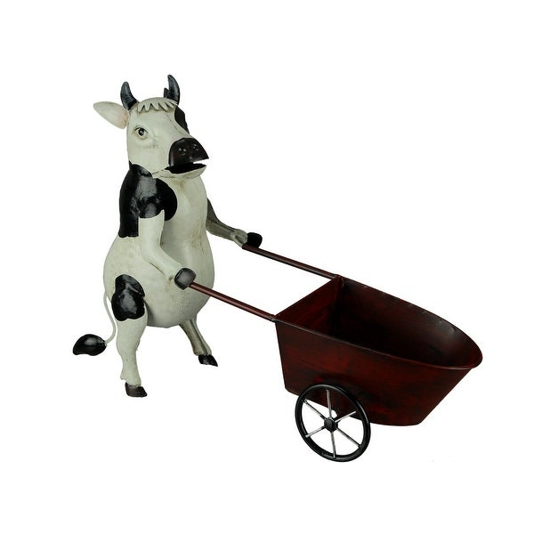 Black and White Metal Art Cow Pushing Cart Planter Sculpture - 12 X 12.5 X 5 inches