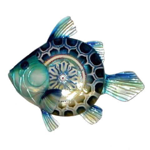 Handmade Blue Fish Metal Art Wall Decor