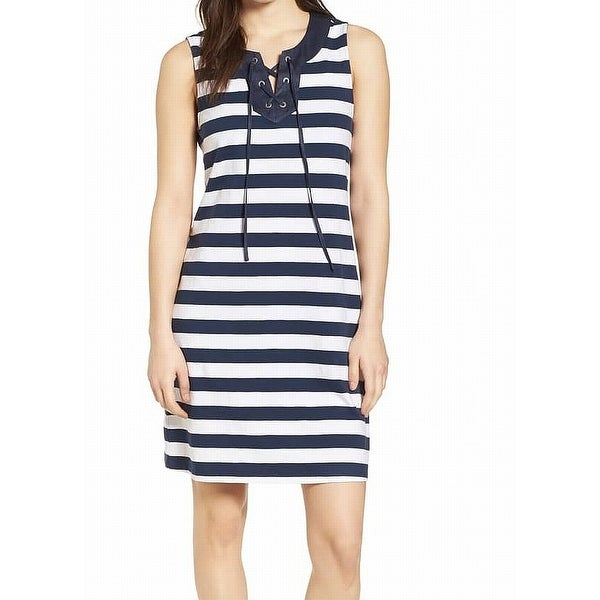 Shop Tommy Bahama Womens Large Striped Lace-Up Sheath Dress - Free Shipping  On Orders Over  45 - Overstock.com - 26994689 e211dbe4454f
