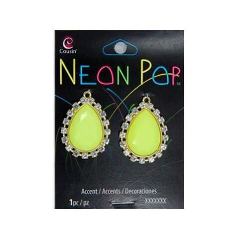 Cousins Neon Pop Teardrop Accnt Rhnst Yllw/Clr 2pc