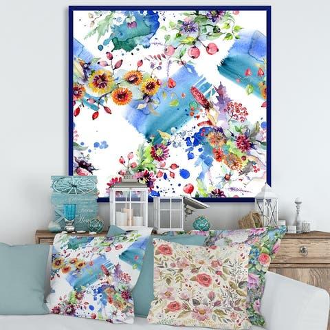 Designart 'Vibrant Wild Spring Leaves and Wildflowers IX' Modern Framed Canvas Wall Art Print