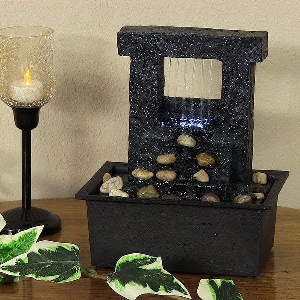Sunnydaze Falling Stream Indoor Tabletop Desktop Water Fountain - 10-Inch