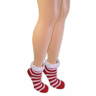 Candy Cane Christmas Socks With Faux Fur