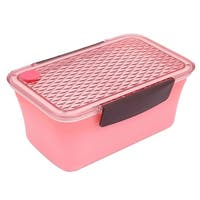 Unique Bargains Home Plastic Rectangle Removable Cover Lunch Box Food Container Pink Brown